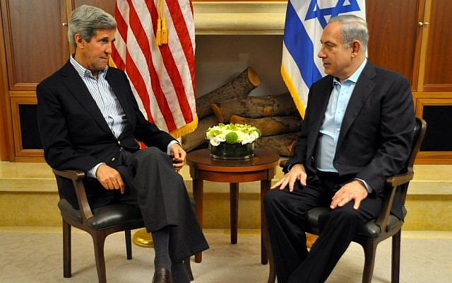 John Kerry meeting with Benjamin Netanyahu in Jerusalem, Thursday night. (photo credit: US State Department)