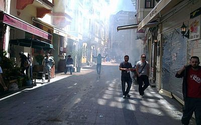 Istanbul residents walk through the usually bustling streets of the Beyoglu neighborhood to protest the government's heavy-handed suppression of demonstrations. (photo credit: Facebook)