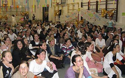 Women at the Midreshet Aviv seminary for women in Tel Aviv during a Purim celebration (courtesy Midreshet Aviv)