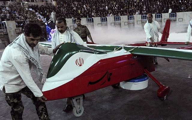Illustrative photo of an Iranian drone (AP/ISNA, Hemmat Khahi)