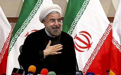 Iran's president Hassan Rouhani at a press conference, in Tehran on June 17, 2013. (photo credit: Ebrahim Noroozi/AP)