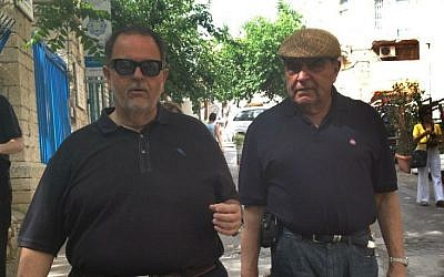 Univision television hosts Raul De Molina (left) and Don Francisco taking a tour of Ein Kerem (photo credit: Leeor Bronis/Times of Israel)