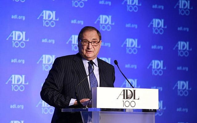 Abraham Foxman, national director of the Anti-Defamation League, speaking at the ADL Centennial Summit in Washington, April 29, 2013. (David Karp/via JTA)