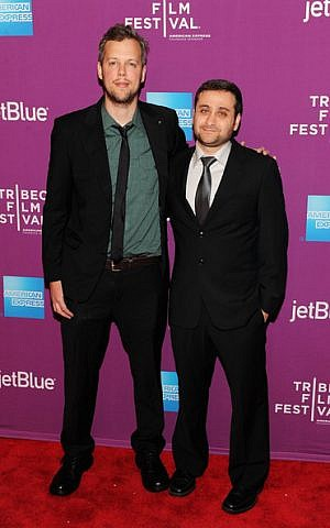 Aharon Keshales and Navot Papushado (left) at the 'Big Bad Wolves' premier in NY. (photo credit: courtesy)