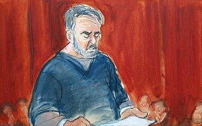 In this courtroom sketch, Manssor Arbabsiar reads a statement Thursday, May 30, 2013, in Manhattan Federal Court, in New York (photo credit: AP/Elizabeth Williams)