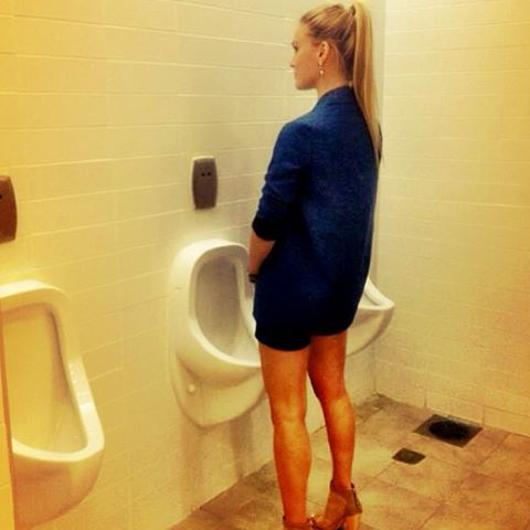 Bar Refaeli stands at a urinal in a photo she posted to support gay and transgender rights (photo credit: Facebook)