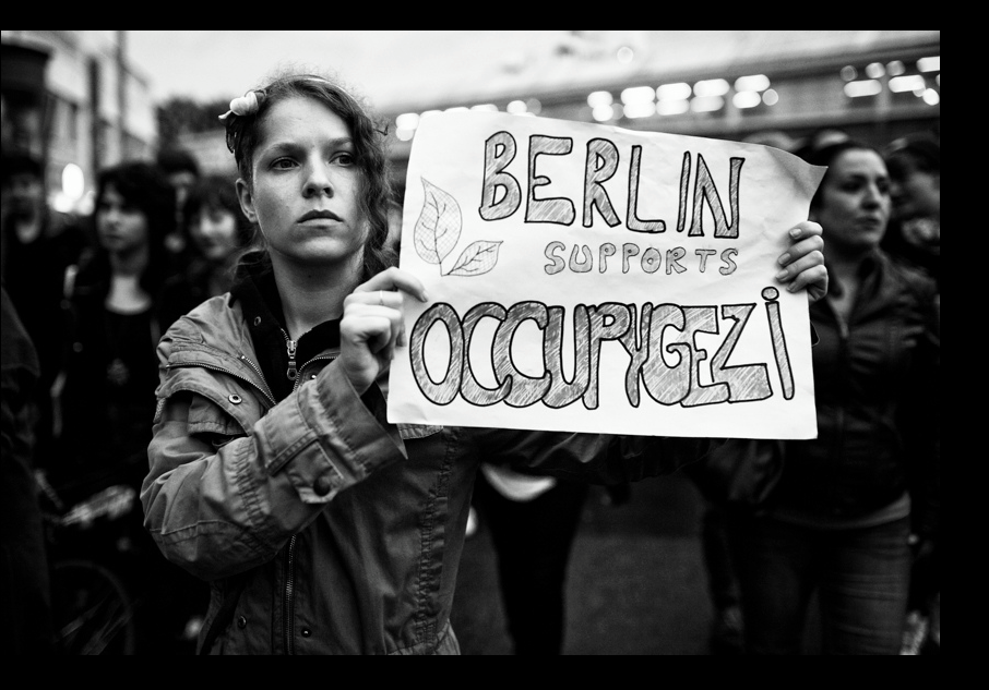 An OccupyGezi protester in Berlin, Germany, June 1, 2013 (photo credit: OccupyGezi official Facebook page)