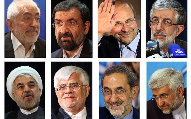 This combination of May 2013 file photos shows the eight candidates approved for Iran's June 14, 2013 presidential election to replace Mahmoud Ahmadinejad. Top row from left are Mohammad Gharazi, Mohsen Rezai, Mohammad Bagher Qalibaf and Gholam Ali Haddad Adel. Bottom row from left are Hasan Rowhani, Mohammad Reza Aref, Ali Akbar Velayati, Saeed Jalili. (AP Photo/File)