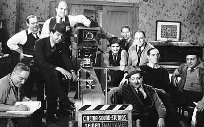 Production still from the 1940 Yiddish feature Jewish Melody directed by Joseph Seiden (seated left). Seiden's film collection was NCJF's initial archival acquisition. Jewish Melody awaits restoration. (photo credit: courtesy NCJF)