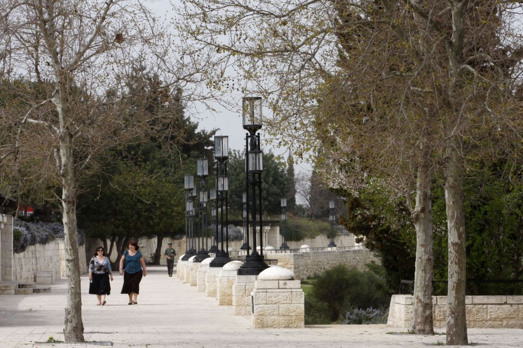 Walking along the Sherover Promenade or tayelet, which abuts the planned Sherover cultural center (photo credit: Nati Shohat/Flash 90)