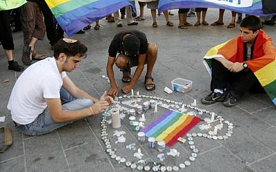 A memorial in Jerusalem for the victims the August 2009 shooting attack at a gay youth center in Tel Aviv, on August 2, 2009. (photo credit: Miriam Alster/Flash90)