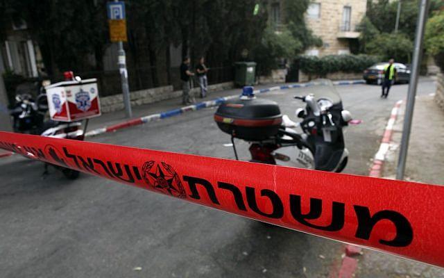 Illustrative photo of a police cordon at a crime scene (Matanya Tausig/Flash90)