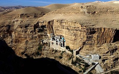 Wadi Qelt and the Monastery of St. George (photo credit: Abir Sultan/Flash90)