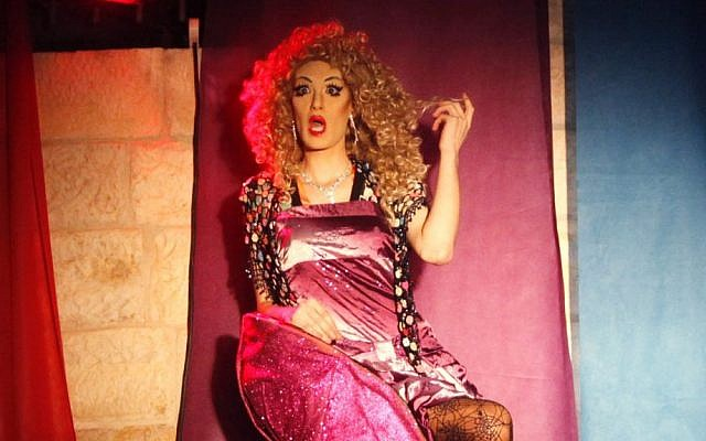 A drag queen performs at a Jerusalem party, June 2012 (photo credit: Miriam Alster/Flash)