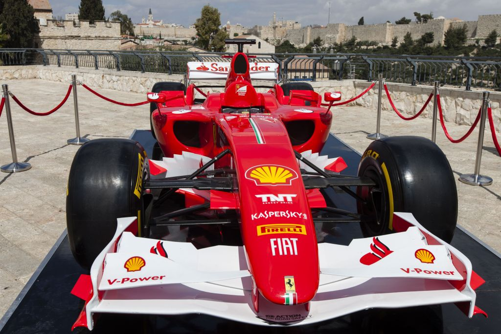 A Ferrari Formula One racing car parked near the Old City walls (Courtesy Flash90)