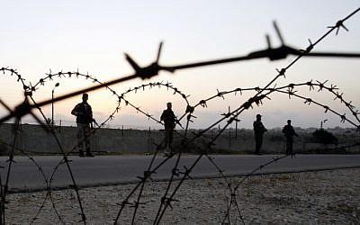 Hamas forces patrolling the Gaza-Egypt border (Photo credit: Abed Rahim Khatab/ Flash 90)