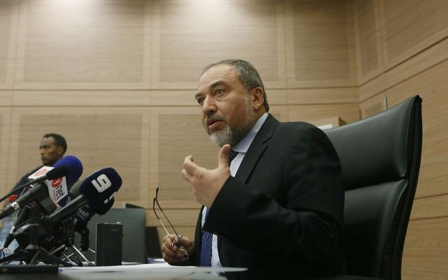 Avigdor Liberman holds a press conference in the Knesset on June 10, 2013 (photo credit: Miriam Alster/Flash90)