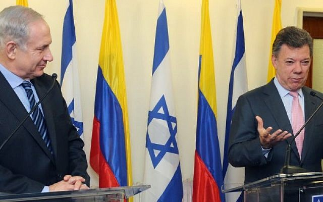 Prime Minister Benjamin Netanyahu with Colombian President Juan Manuel Santos at a press conference ahead of their meeting in Jerusalem, June 11, 2013. (Marc Israel Sellem/Pool/Flash90)