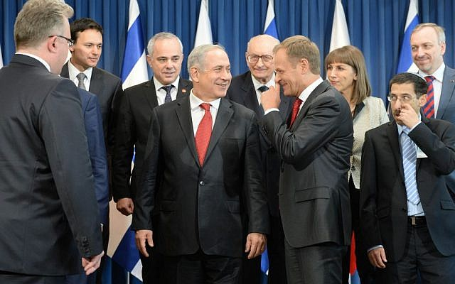 Prime Minister Bnejamin Netanyahu meets with Poland's PM Donald Tusk and poses for a group photo with their government ministers, in Warsaw, Poland on June 12, 2013. (photo credit: Kobi Gideon/GPO/Flash90)