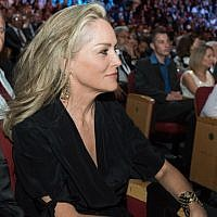 Sharon Stone changed from her yellow dress of the morning, into, yes, black (photo credit: Omer Miron/Flash 90)