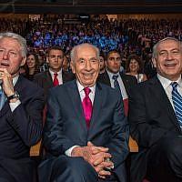 Gotta love President Peres' hot pink tie (photo credit: Omer Miron/Flash 90)