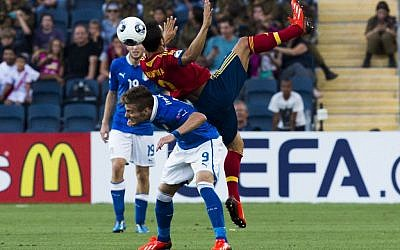 Spain in action against Italy during the 2013 UEFA European U-21 Championships final game at Teddy Stadium. Spain won 4-2 (photo credit: Yonatan Sindel/Flash90)