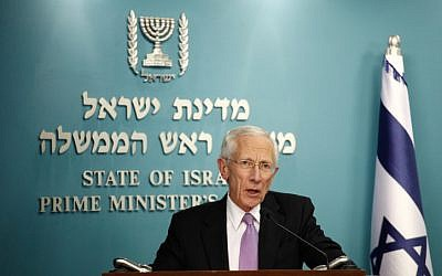Former Bank of Israel Governor Stanley Fischer speaks at a press conference at the Prime Minister's Office in Jerusalem (photo credit: Flash90)