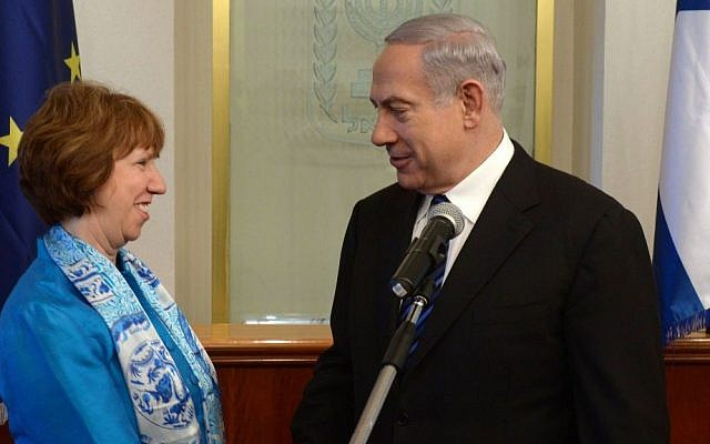 Prime Minister Benjamin Netanyahu with EU Foreign Policy Chief Catherine Ashton, during their meeting in Jerusalem, on June 20, 2013. (photo credit: Amos Ben Gershom/ GPO/Flash90)