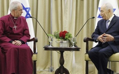 Archbishop of Canterbury and senior bishop in the Church of England Justin Welby with President Shimon Peres at Peres's Jerusalem residence, Thursday, June 27, 2013 (photo credit: Miriam Alster/Flash90)