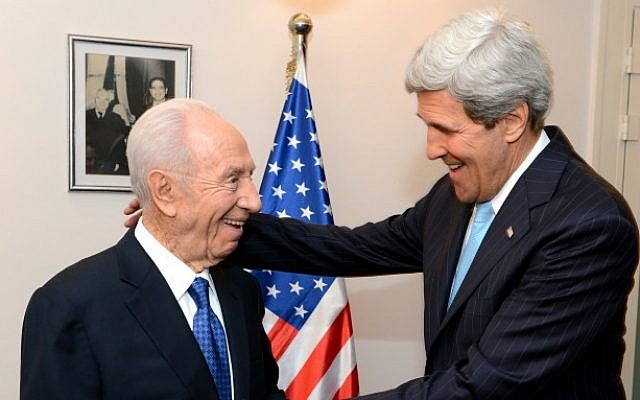 President Shimon Peres meets with US Secretary of State John Kerry at the President's residence in Jerusalem on June 28, 2013. (Photo credit: Matty Stern/US Embassy Tel Aviv/Flash90)