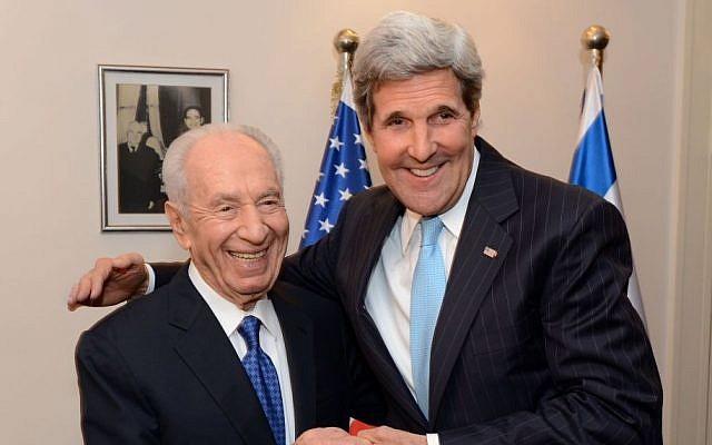 US Secretary of State John Kerry meets with President Shimon Peres on June 28, 2013. (photo credit: Matty Stern/U.S. Embassy Tel Aviv/Flash90)