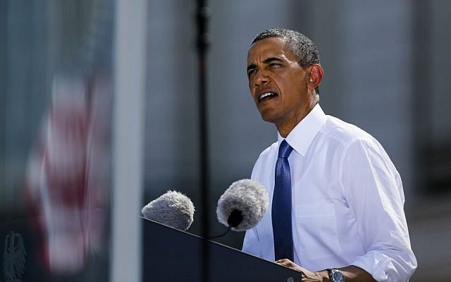 US President Barack Obama delivers a speech in front of Brandenburg Gate in Berlin Wednesday, June 19 (photo credit: AP/Markus Schreiber)