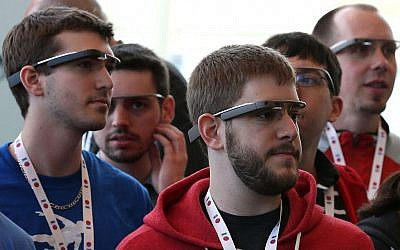 Participants wearing Google Glass during Google's I/O Developers Conference in San Francisco, May 1, 2013. (photo credit: Justin Sullivan/Getty/JTA)