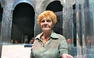 Helen Garfinkel Greenspun on the new glass bima of the renovated Polish synagogue. (photo credit: courtesy)