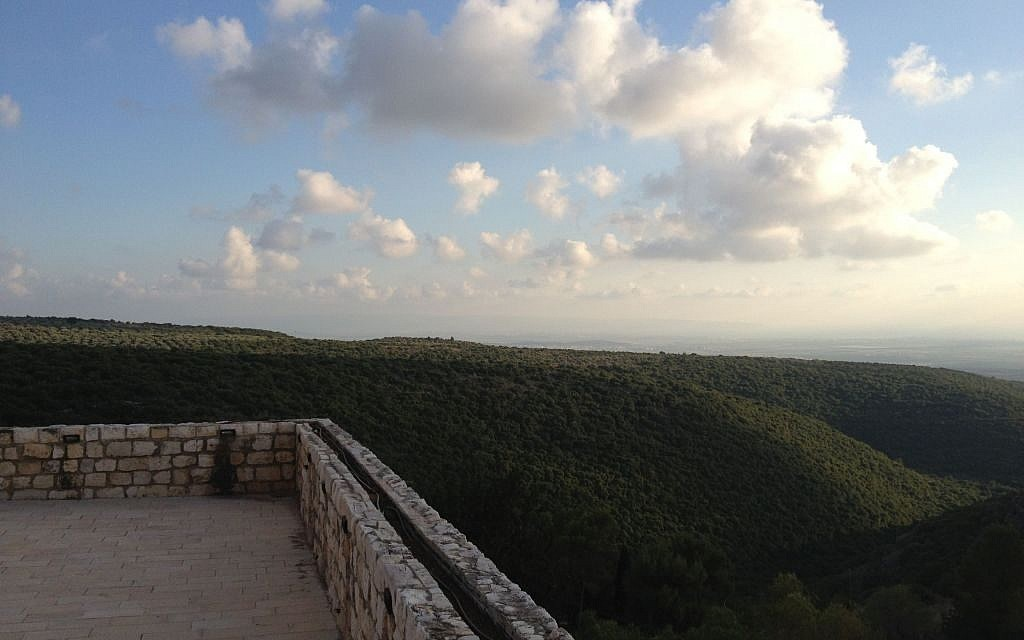 A typical view of the western Galilee, from the balcony of the Crusader fortress at Kibbutz Yehiam (photo credit: Jessica Steinberg/Times of Israel)