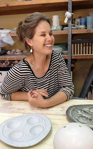 Michal Keren Gelman, a silversmith turned ceramicist (photo credit: Jessica Steinberg/Times of Israel)