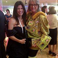 Dalia Prashker (right) and friend, in full-gala wear (photo credit: Sarah Tuttle-Singer/Times of Israel)