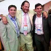 Men in suits, particularly the cream poplin with pink tie (Photo credit: Sarah Tuttle-Singer/Times of Israel)