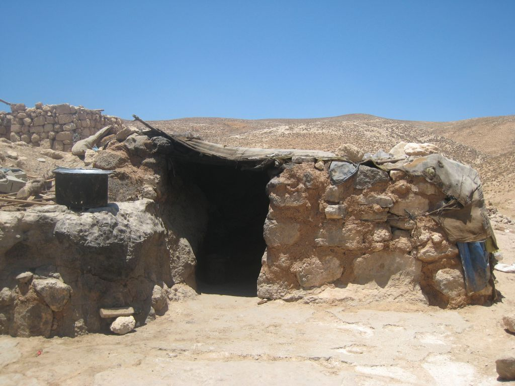 A cave dwelling in the Palestinian village of Jinba (photo credit: Ilan Ben Zion/Times of Israel staff)