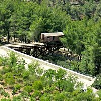 Aerial view of the train carriage installed at Yad Vashem. (photo: Qanta Ahmed)