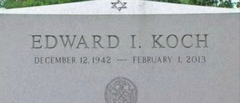 Ed Koch's misdated tombstone (photo credit: NBC screenshot)