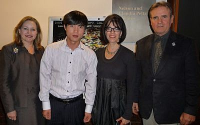 Shin Dong-hyuk, center-left, at the Simon Wiesenthal Center's Museum of Tolerance in Los Angeles during a screening of a film about North Korea, 2009. (Courtesy Simon Wiesenthal Center's Museum of Tolerance)