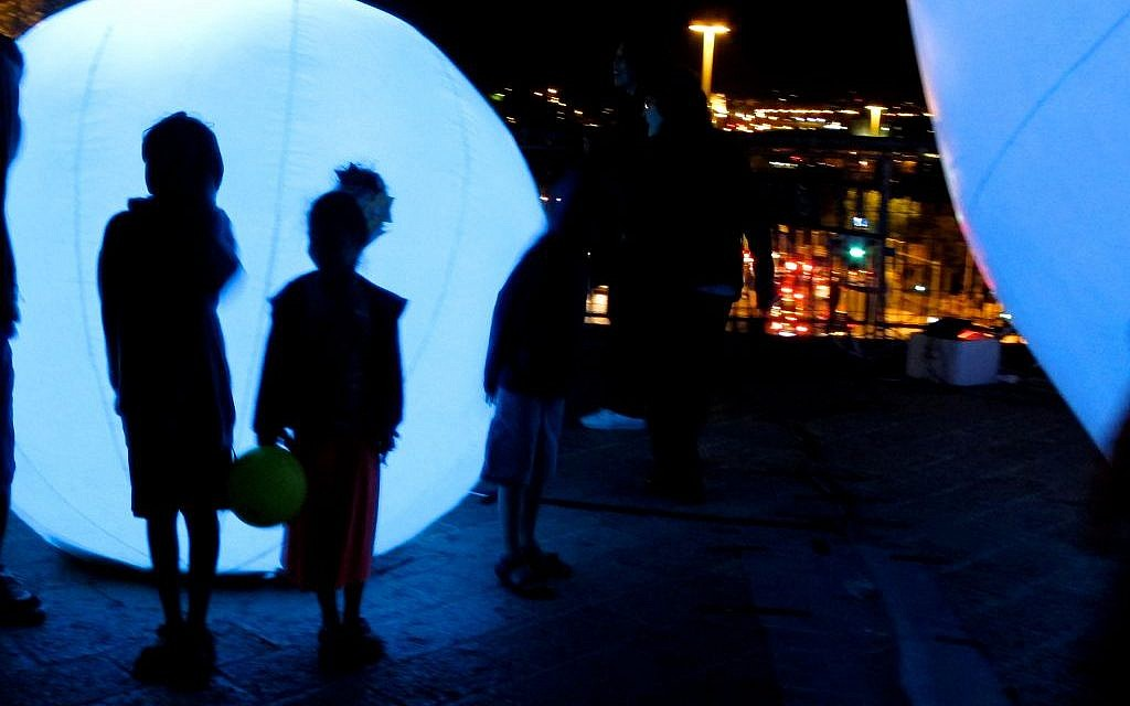 """Part of the """"Spirit Light of the Forest"""" piece, created in Montreal (photo credit: Leeor Bronis/Times of Israel)"""