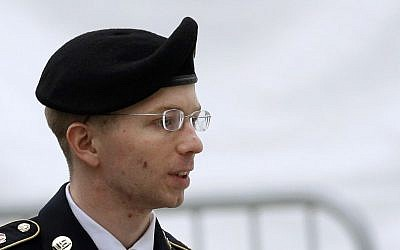Bradley Manning, escorted from a court hearing, May 21, 2013 (photo credit: AP/Patrick Semansky)