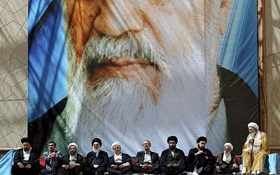 Iran's leaders attend a 2013 ceremony marking the anniversary of the death of Ayatollah Khomeini at his shrine just outside Tehran (AP Photo/Office of the Supreme Leader)