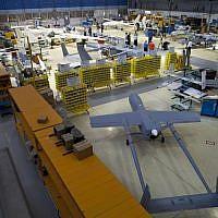 Illustrative: Drones in a hangar at Israel Aerospace Industries, near Tel Aviv, on May 28, 2013. (AP/Oded Balilty)