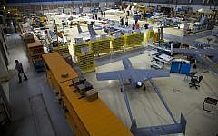 Drones are seen in a hangar at Israel Aerospace Industries, near Tel Aviv, on May 28, 2013. (AP/Oded Balilty)