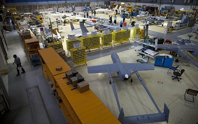 Illustrative: Drones in a hangar at Israel Aerospace Industries, near Tel Aviv, on May 28, 2013. (AP/Oded Balilty)