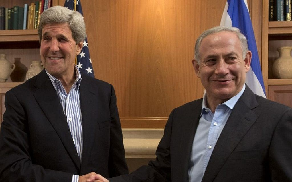 US Secretary of State John Kerry with Prime Minister Benjamin Netanyahu during a meeting in Jerusalem, Thursday, June 27, 2013 (photo credit: AP/Jacquelyn Martin)