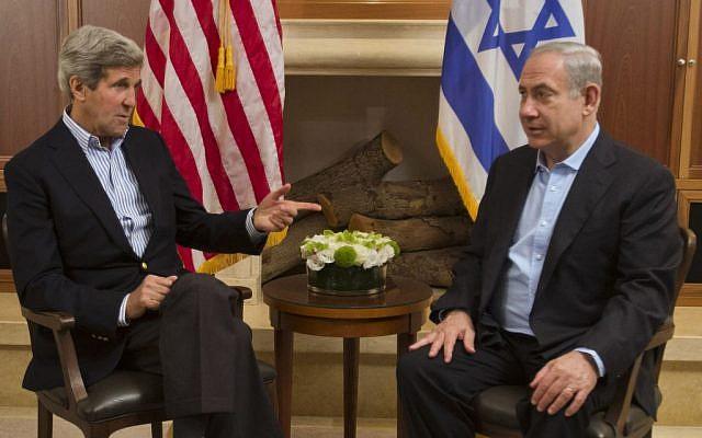 US Secretary of State John Kerry, left, meets with Prime Minister Benjamin Netanyahu in Jerusalem on Thursday, June 27 (photo credit: AP/Jacquelyn Martin)